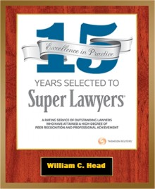 Super Lawyers 15 year Honoree Badge given in 2018