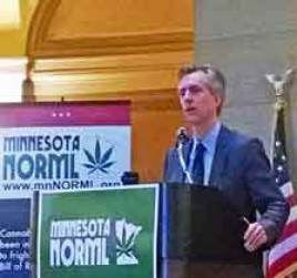 Gallagher speaking at the Minnesota Capitol on Legalization